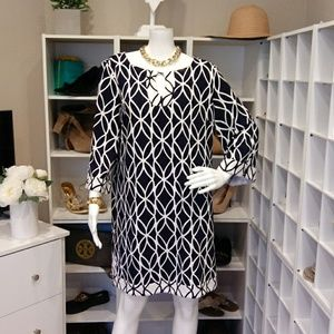 CROWN & IVY NAVY AND WHITE TUNIC DRESS M